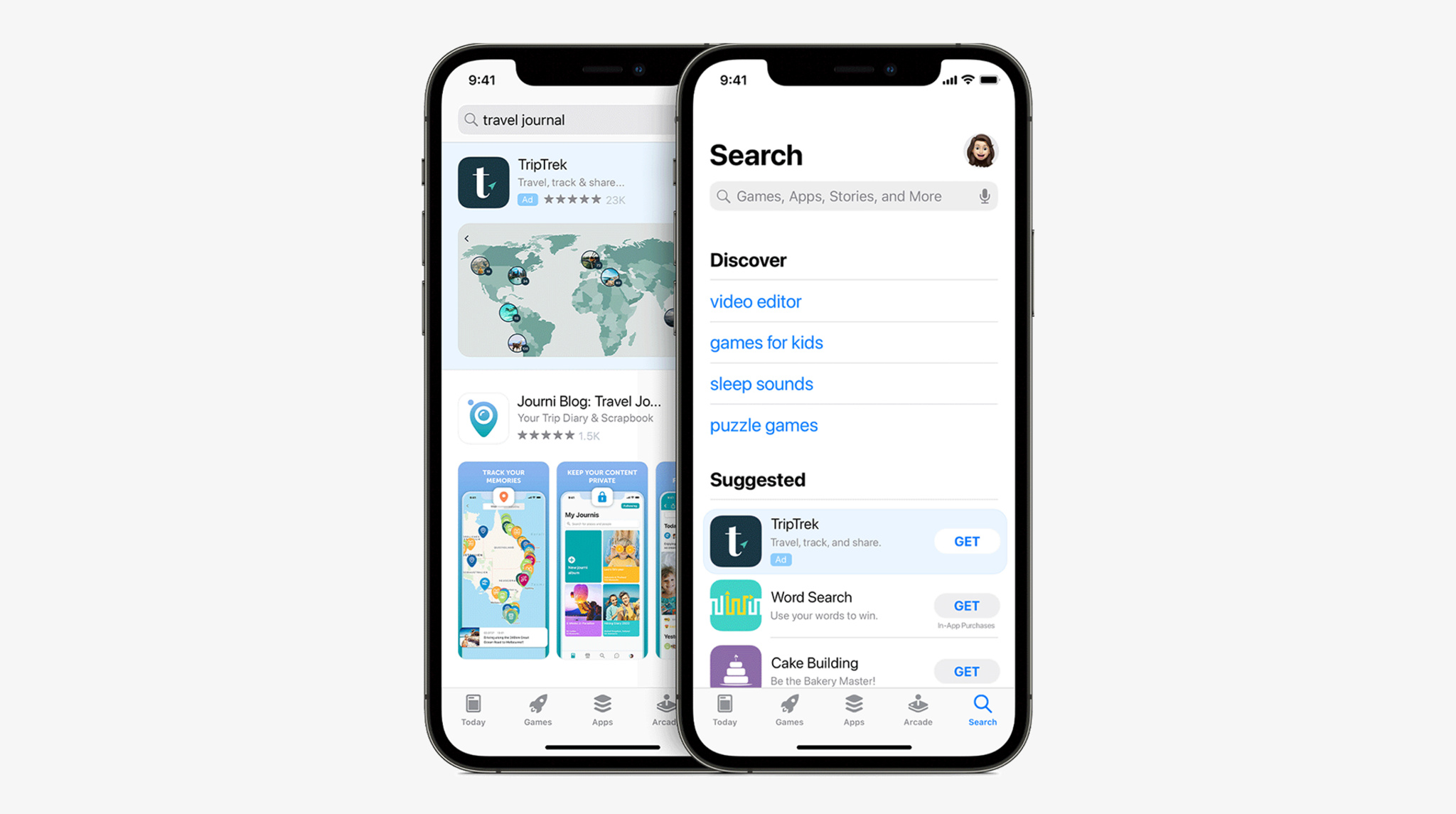 Two side-by-side iPhones display ads on the Search tab. One shows an ad before a search term is entered and the other shows an ad in search results.