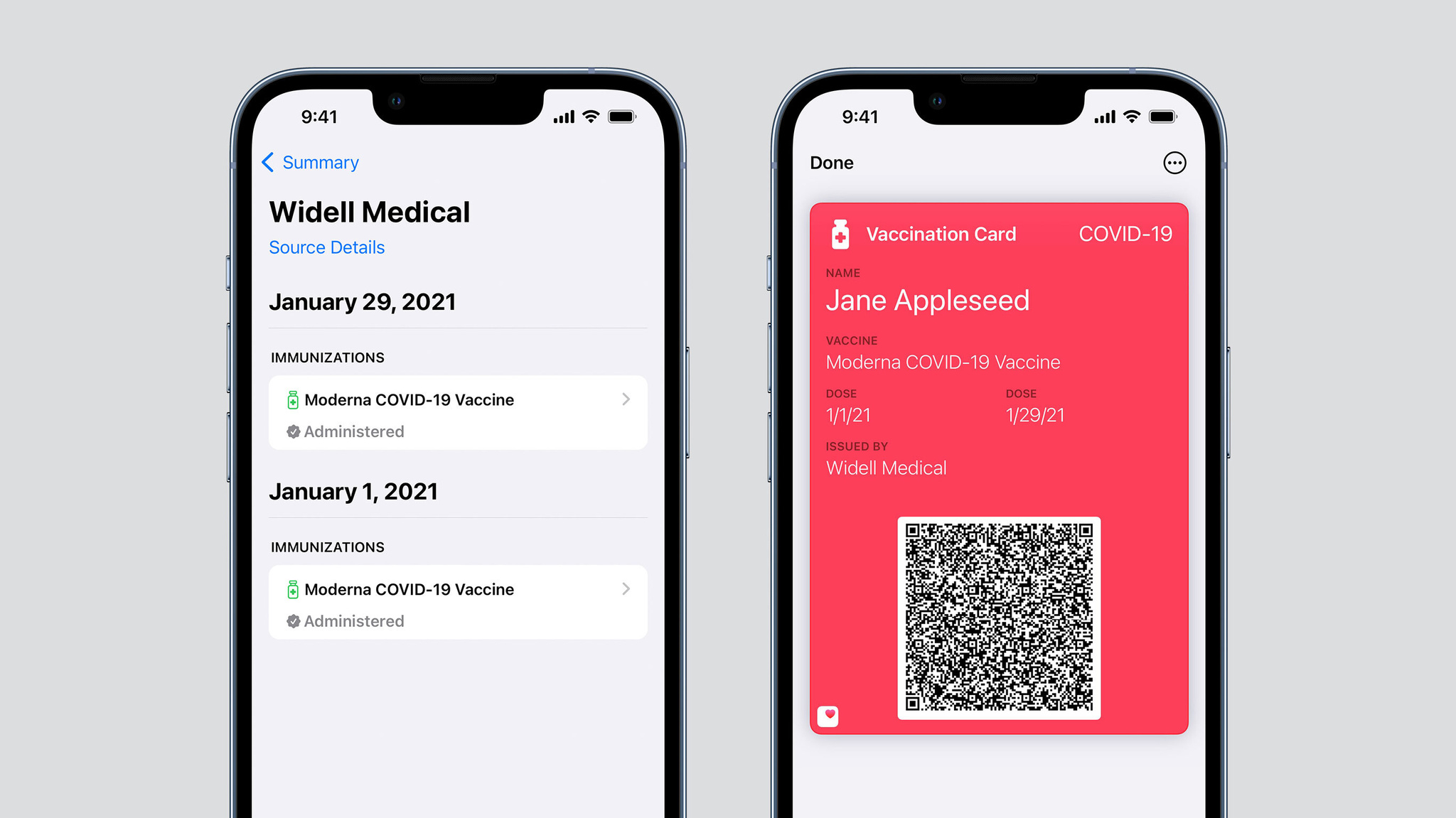 Verified health records in the Health app on iPhone. Vaccination card in the Wallet app on iPhone.