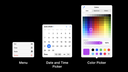 Design with iOS pickers, menus and actions