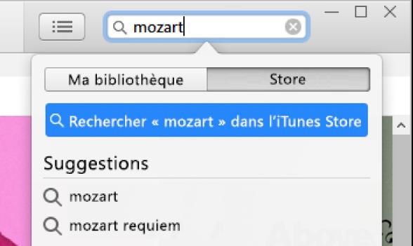 Le champ de recherche avec la requête «Mozart» saisie. Dans le menu local de l'emplacement, Store est sélectionné.