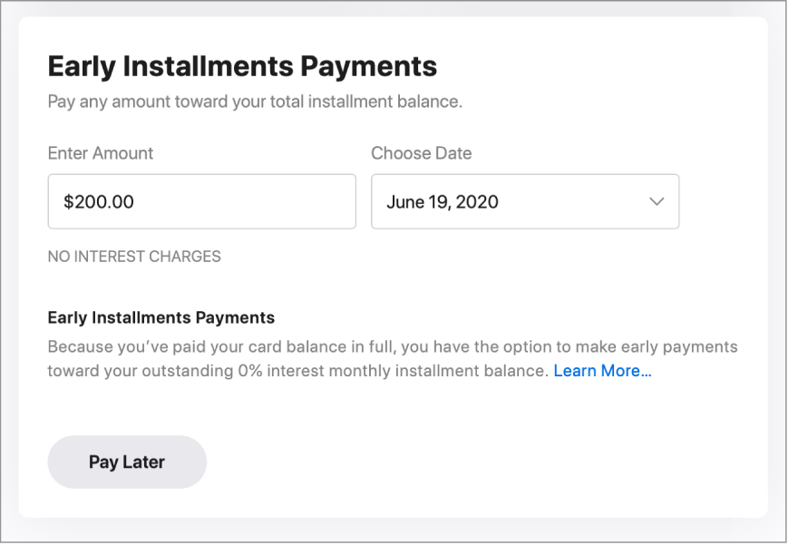"The one-time payment section, which has a title of ""Early Installment Payments."" The amount listed is $200 and a future date is selected."