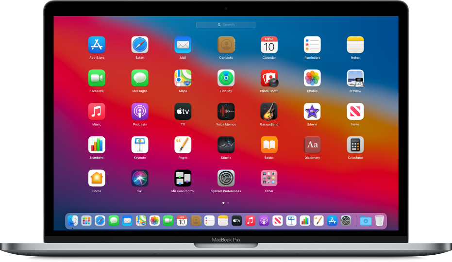 Launchpad showing app icons in a grid pattern across the Mac screen.