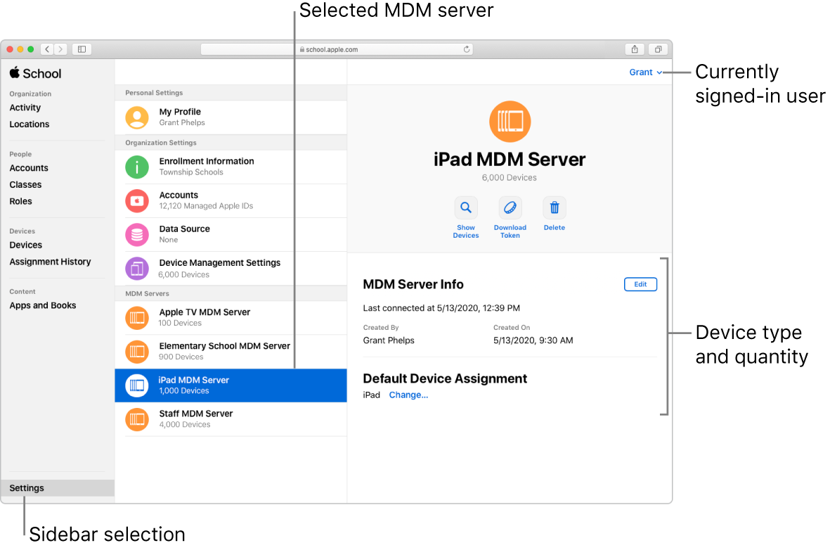 The Apple School Manager window, with Settings selected in the sidebar. A selected server opens to information about that server.