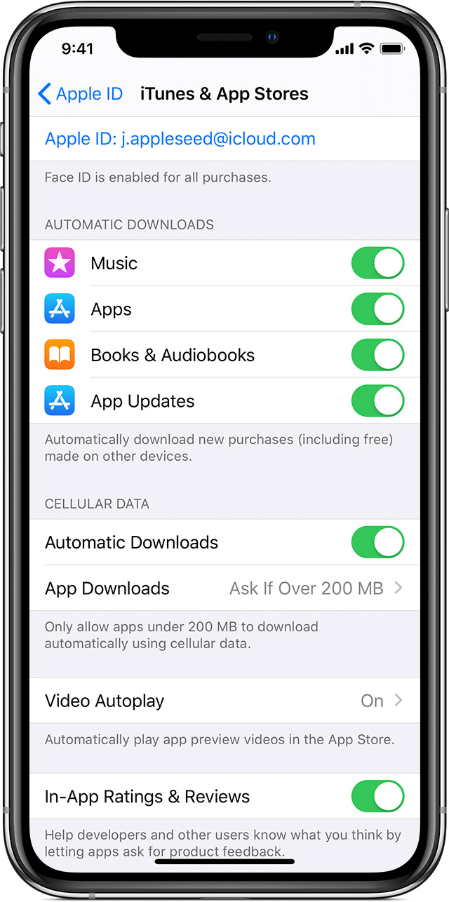 iPhone showing the controls that you use to turn or on turn off automatic downloads and automatic app updates.