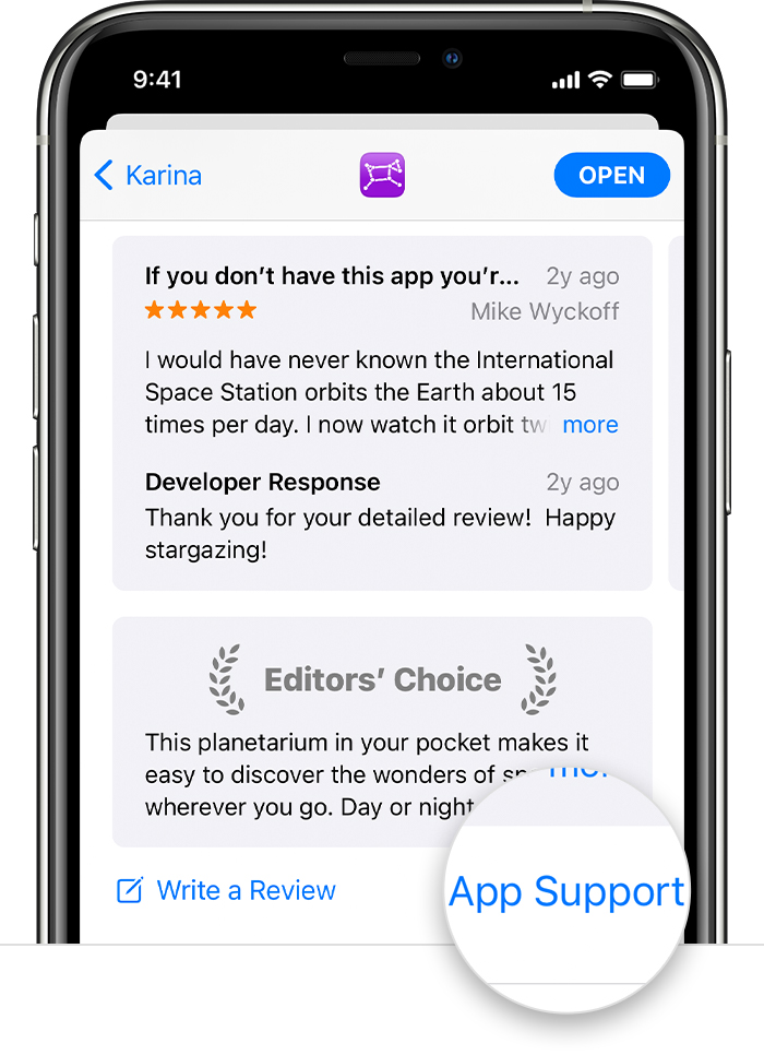 iPhone showing an app's product page in the App Store with an option named App Support.