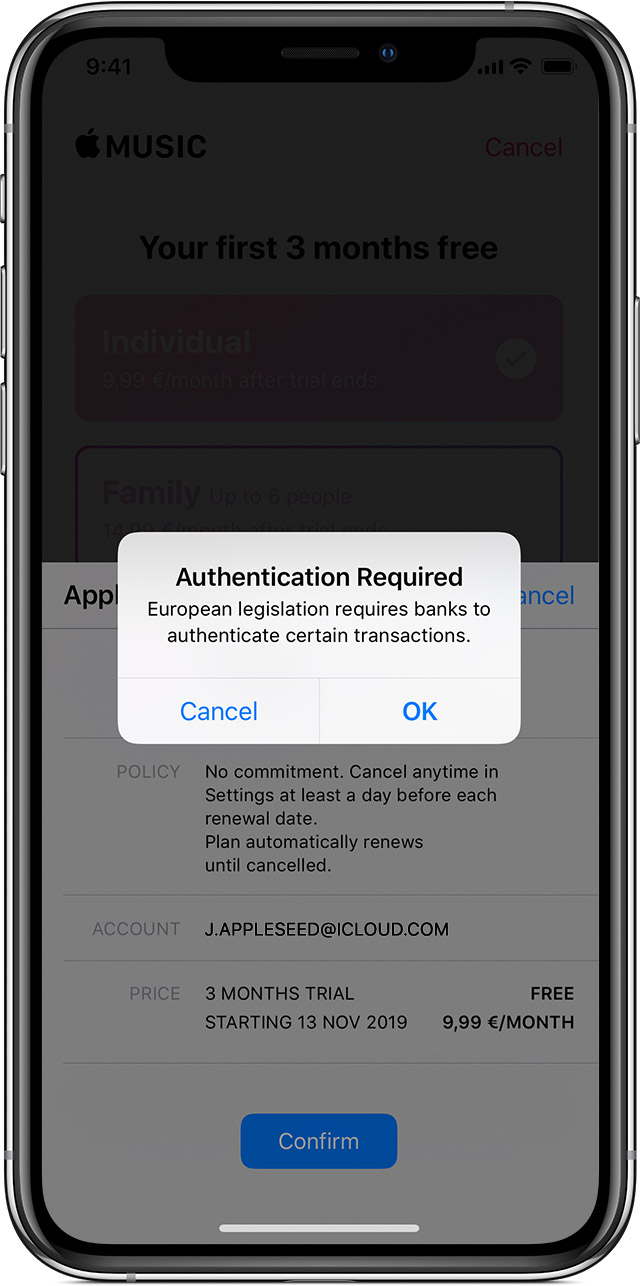 iPhone showing a message that says authentication required. European legislation requires banks to authenticate certain transactions.