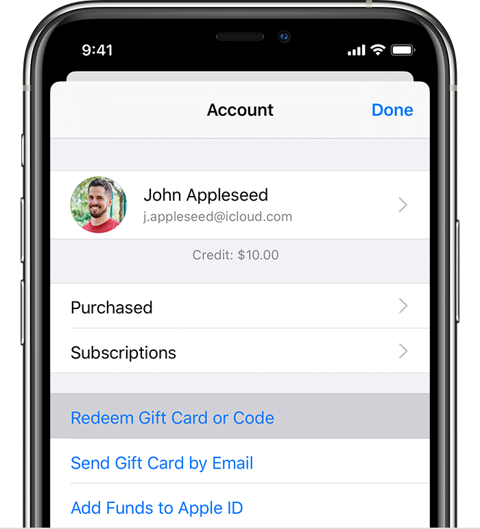 iPhone showing the menu that includes Redeem Gift Card or Code.