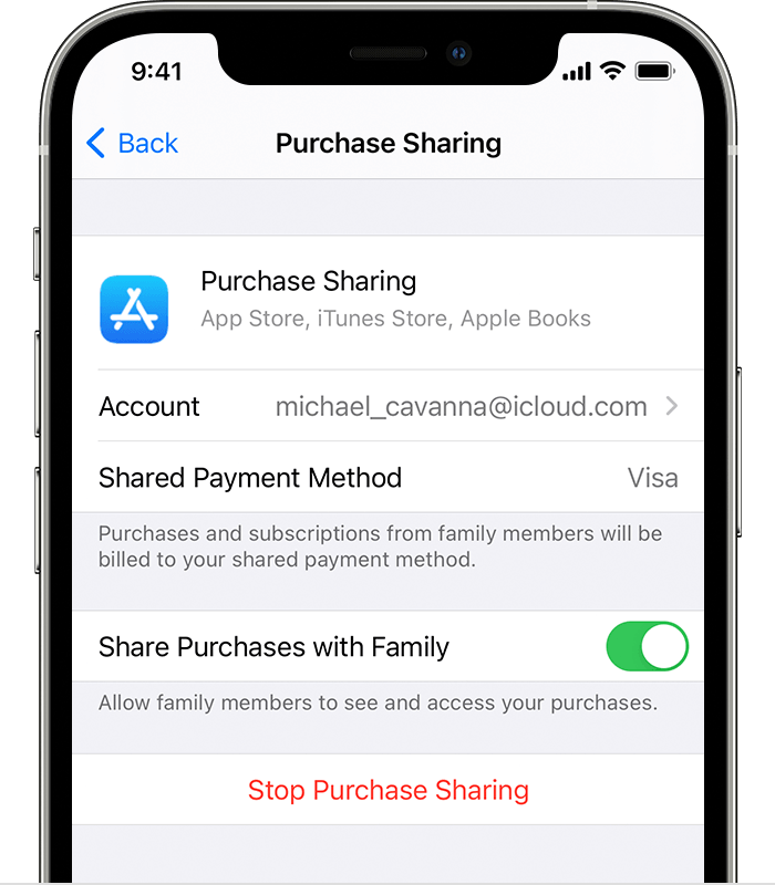 iPhone showing that a Visa card is the shared payment method.