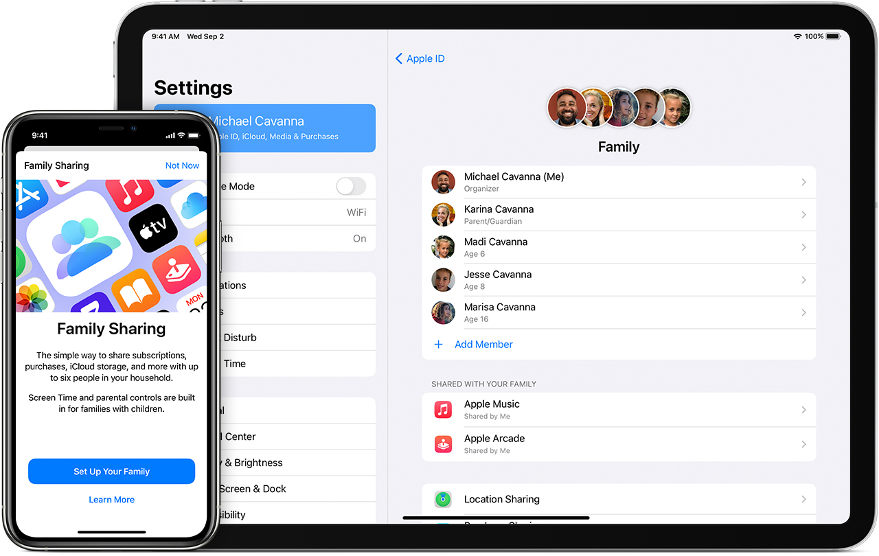 iPhone and iPad showing five family members and two shared subscriptions, Apple Music and Apple Arcade.