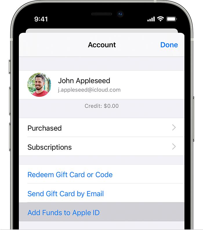 iPhone, milles on kuvatud suvand Add Funds to Apple ID (Lisa Apple'iID-le raha).
