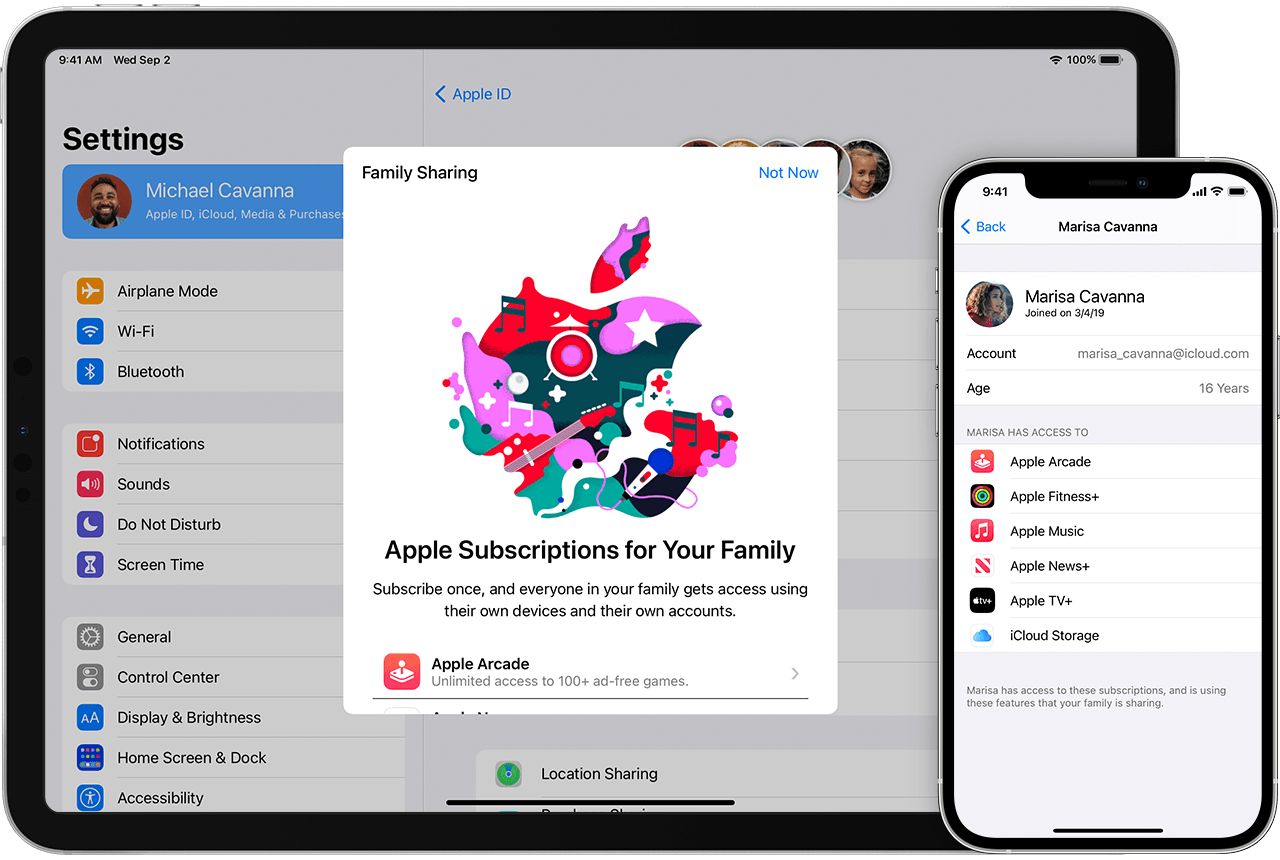 iPhone showing a list of subscriptions, including Apple Fitness+ and Apple Music. An iPad behind it shows a colorful Apple logo.