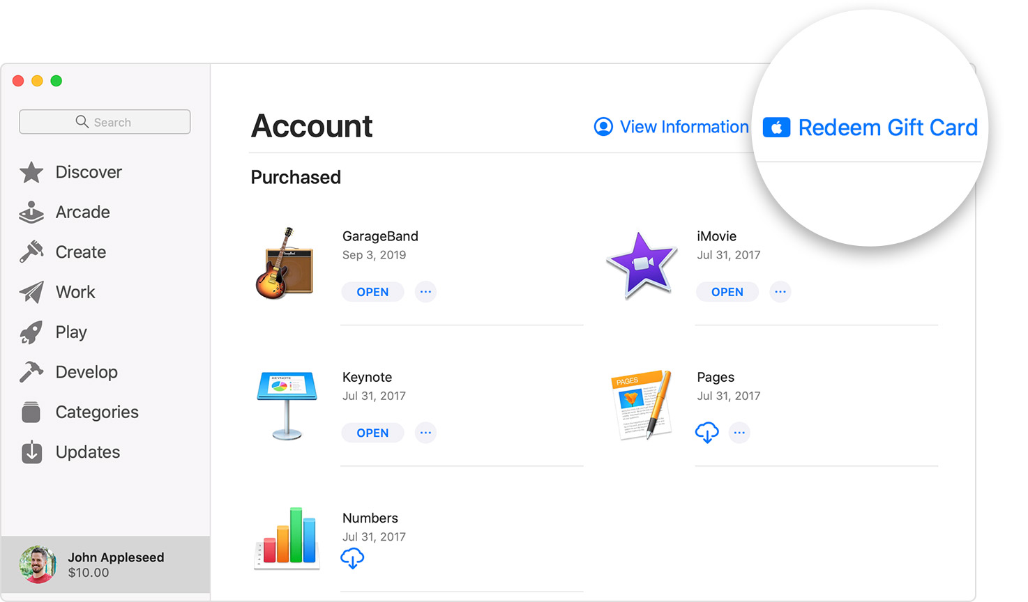 Mac screenshot showing the Redeem Gift Card button in the App Store.