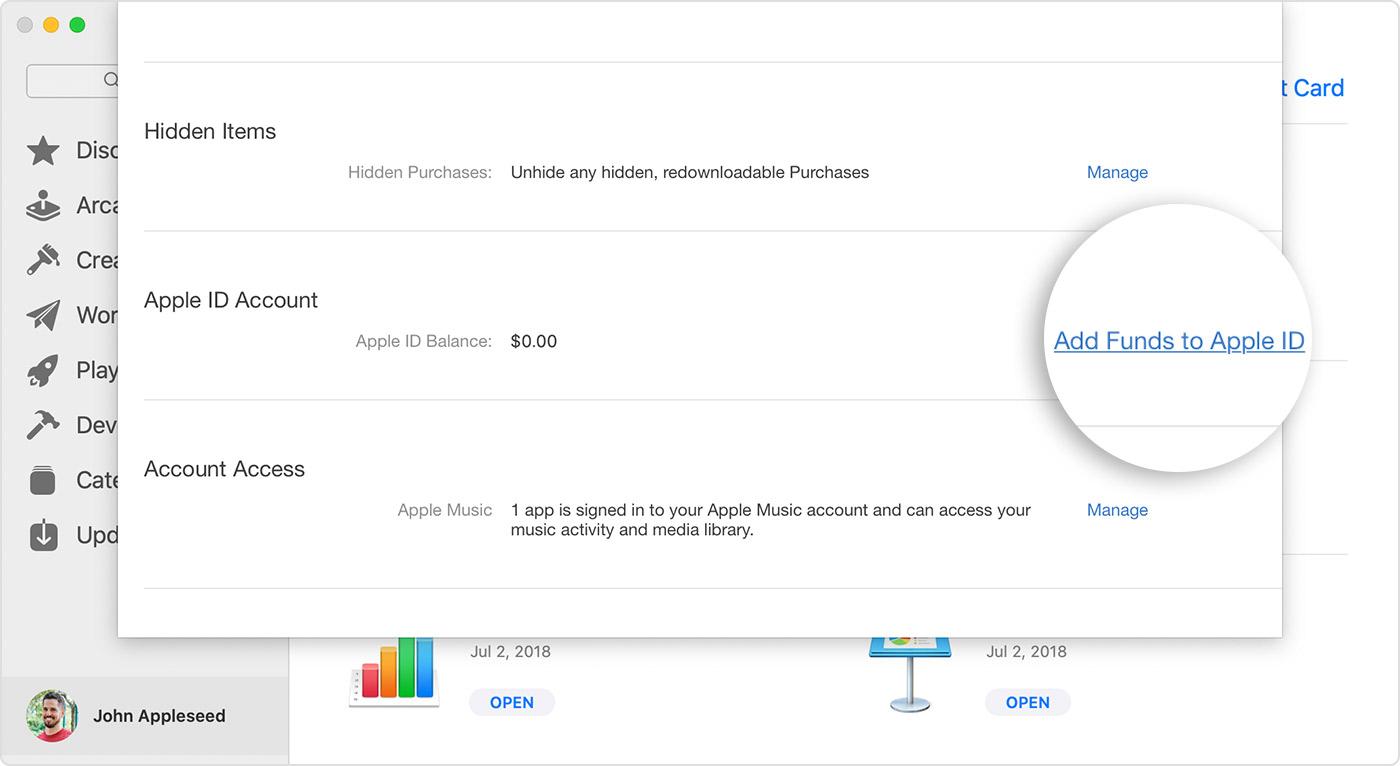 Lehel Account Information (Kontoteave) kuvatakse valik Add Funds to AppleID (Lisa Apple'iID-le raha).