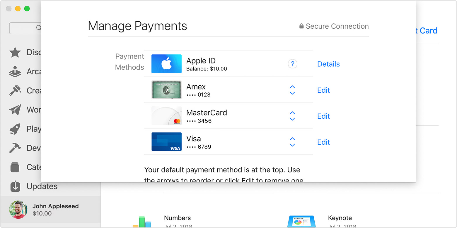 The App Store on Mac showing the Manage Payments page, where you can edit, reorder, add, or remove payment methods.