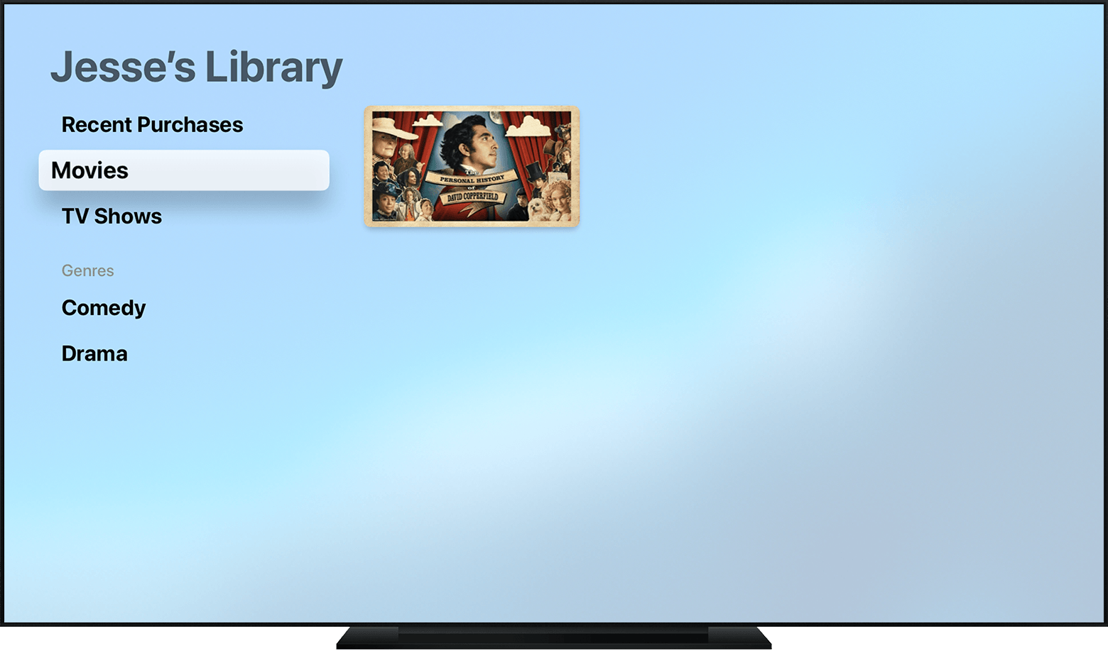 Apple TV showing movies in Jesse's library.