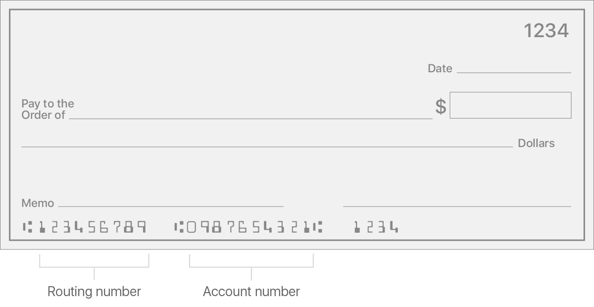 Check that shows the routing number and account number