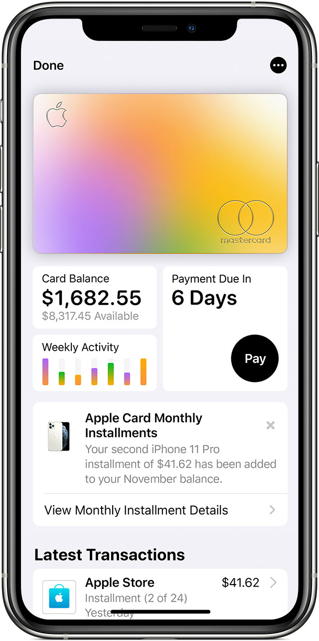 See details for Apple Card Monthly Installments in the Wallet App