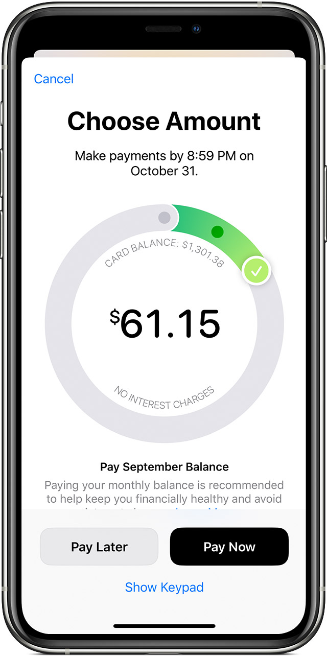 Pay off your monthly Apple Card balance in the Wallet app