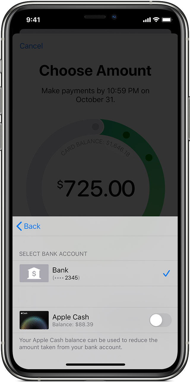 Choose whether to use Apple Card when you make an Apple Card payment