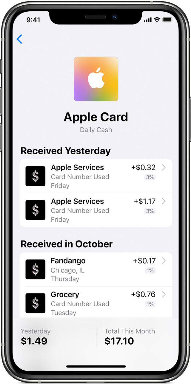 View Daily Cash that's added to your Apple Cash card in the Wallet app