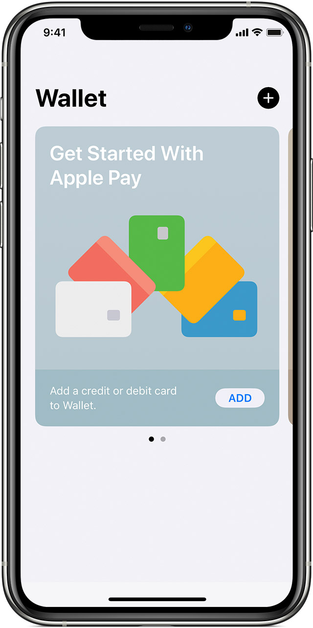 In the Wallet app, tap the plus icon to add a card.