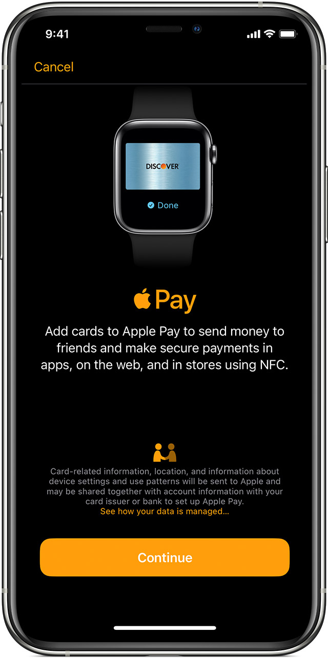 Use the Apple Watch app on your iPhone to add a card to your watch.