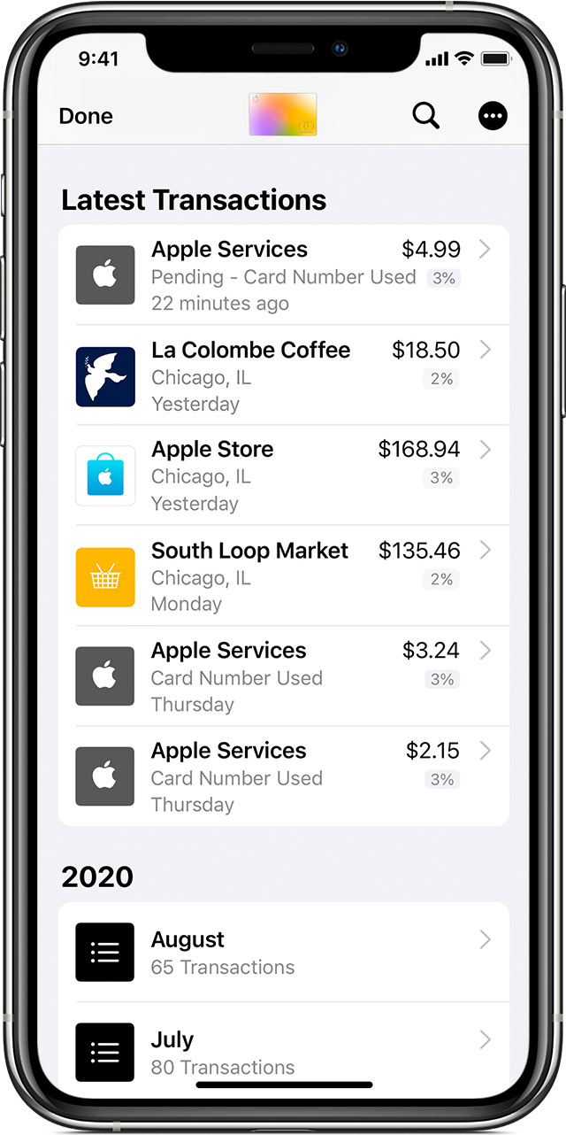 iPhone showing transactions including coffee, groceries, and Apple Services.