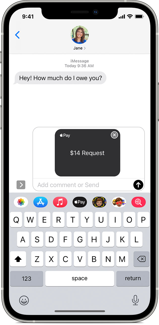 Send an Apple Cash payment request in the Messages app