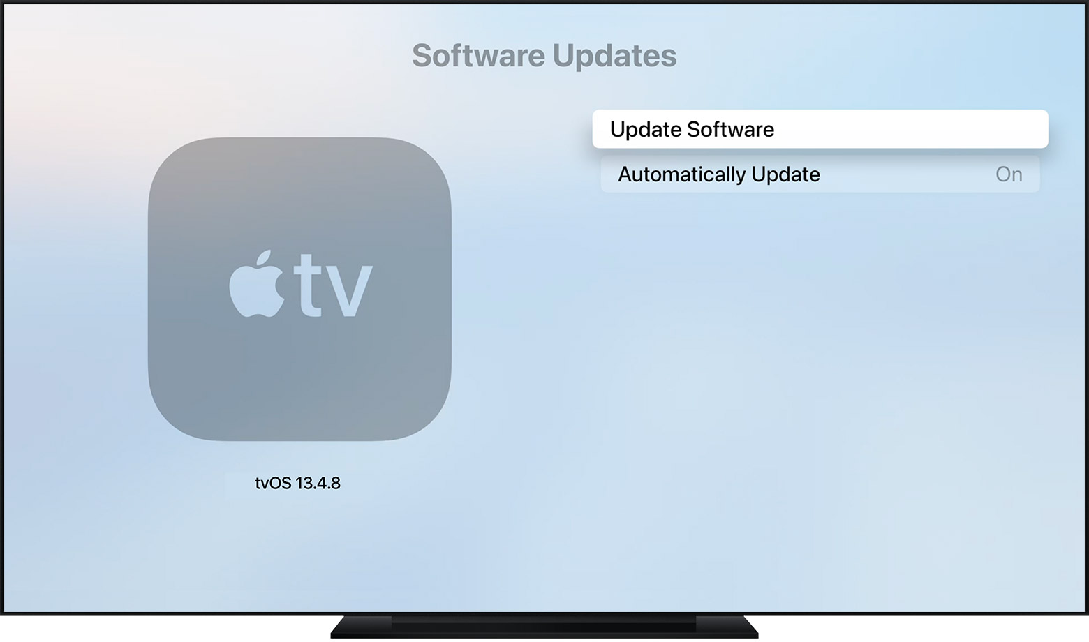 tvOS showing the Software Updates page, with Update Software highlighted.
