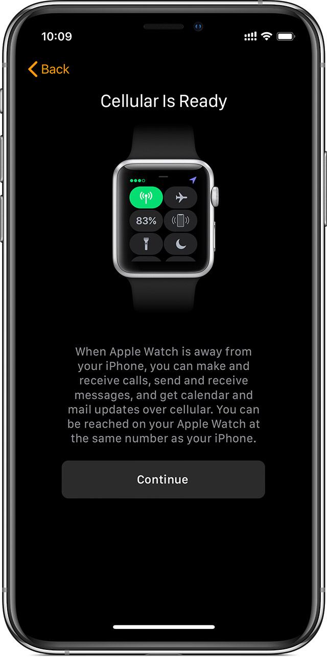Cellular setup screen on iPhone showing that cellular is ready to use on your Apple Watch.