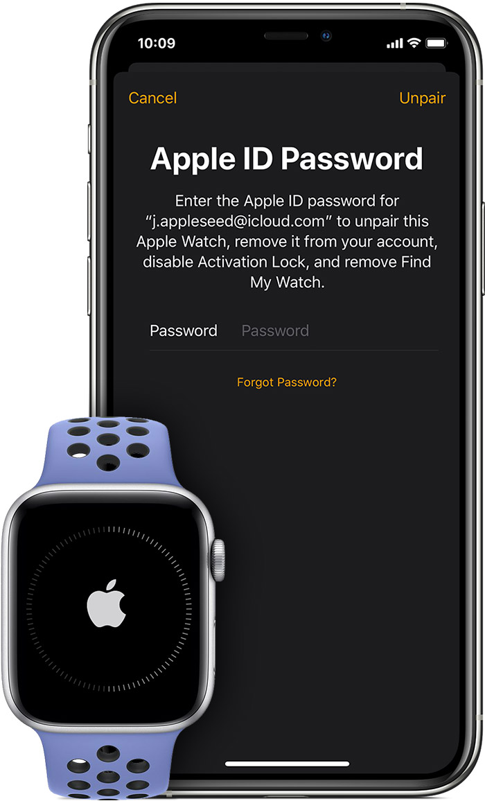 Prompt to enter your Apple ID password to disable Activation Lock.