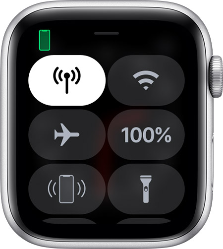 Control Centre on Apple Watch.