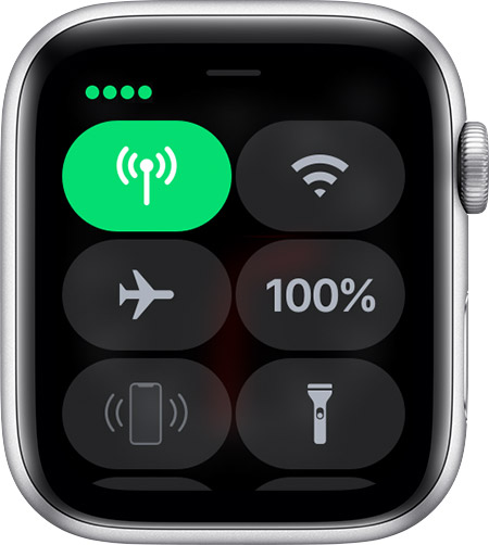 Full cellular signal in Control Centre on Apple Watch.
