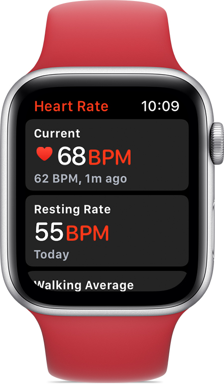 Heart Rate app showing 68 BPM current rate and 55 BPM resting rate