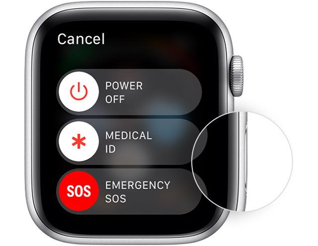 Apple Watch showing where the side button is as well as the Power Off slider.