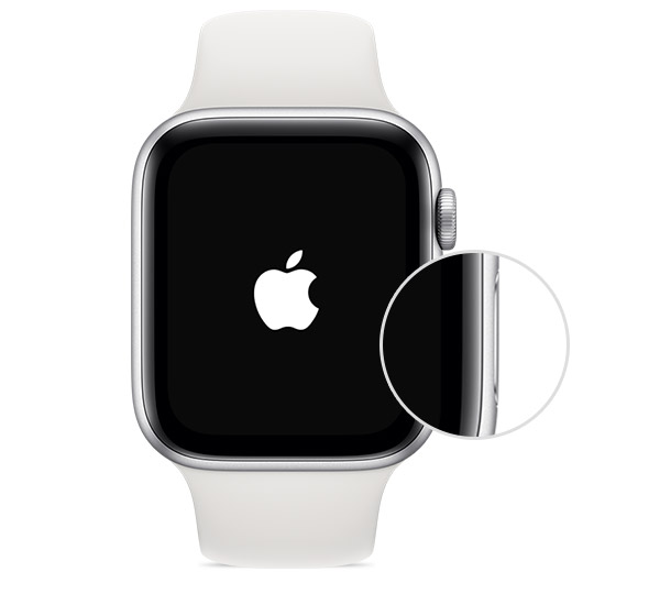 Side button on Apple Watch.