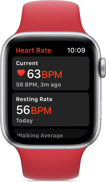 Heart Rate app showing 68 BPM current rate and 56 BPM resting rate