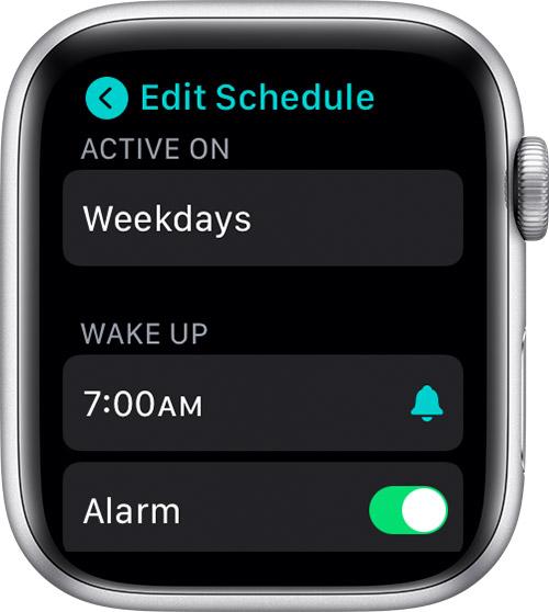 Edit full sleep schedule on Apple Watch