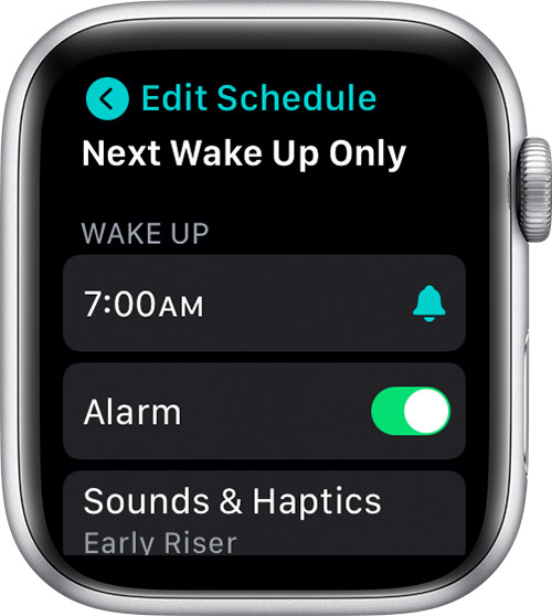 Edit Next Wake Up Only on Apple Watch
