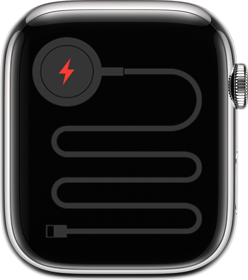 Apple Watch showing icon that indicates the watch needs to be connected to power