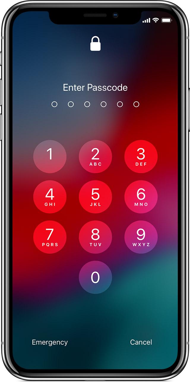 iPhone showing Enter Passcode screen