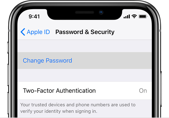 iPhone Password & Security Screen showing Two-Factor Authentication turned on