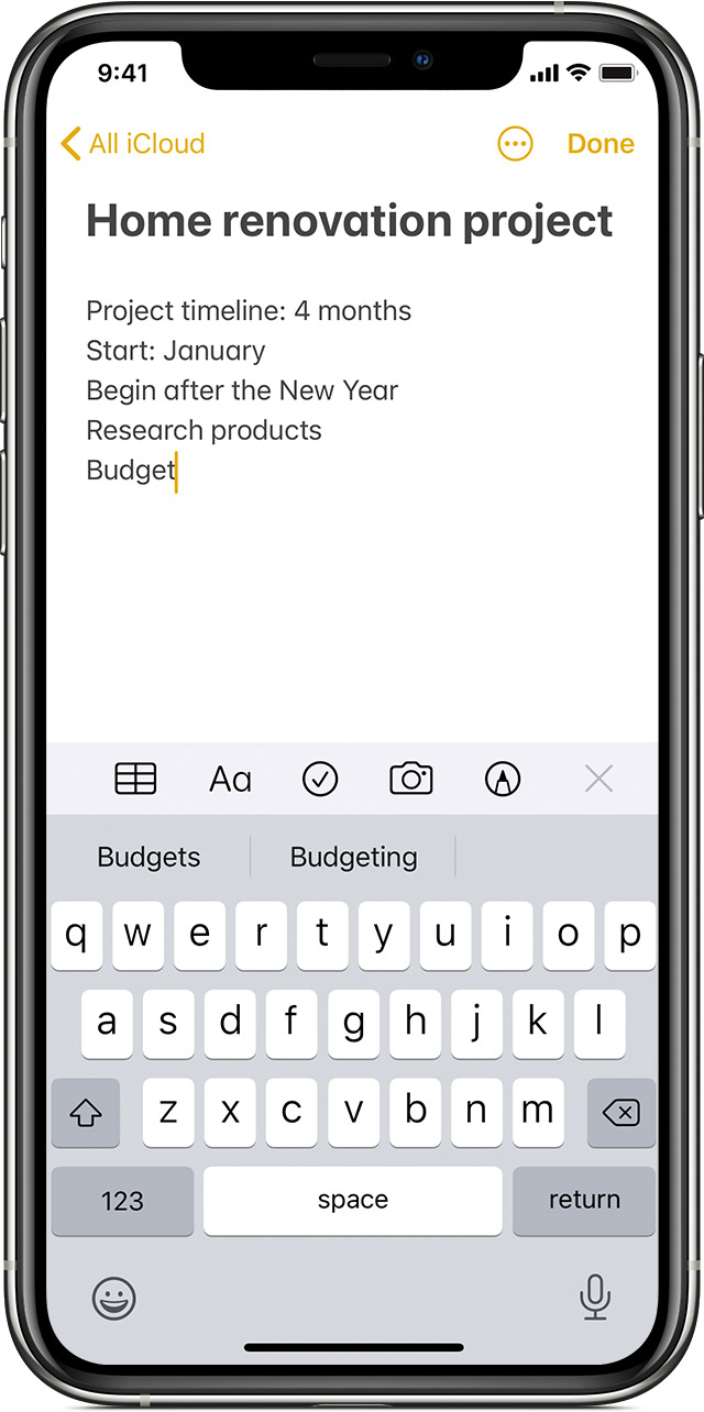 iPhone showing how to create a note in the Notes app
