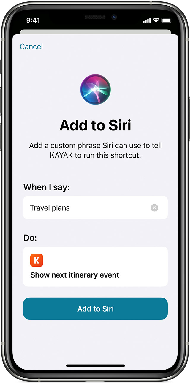 Kayak is added to Siri with the Add to Siri button.
