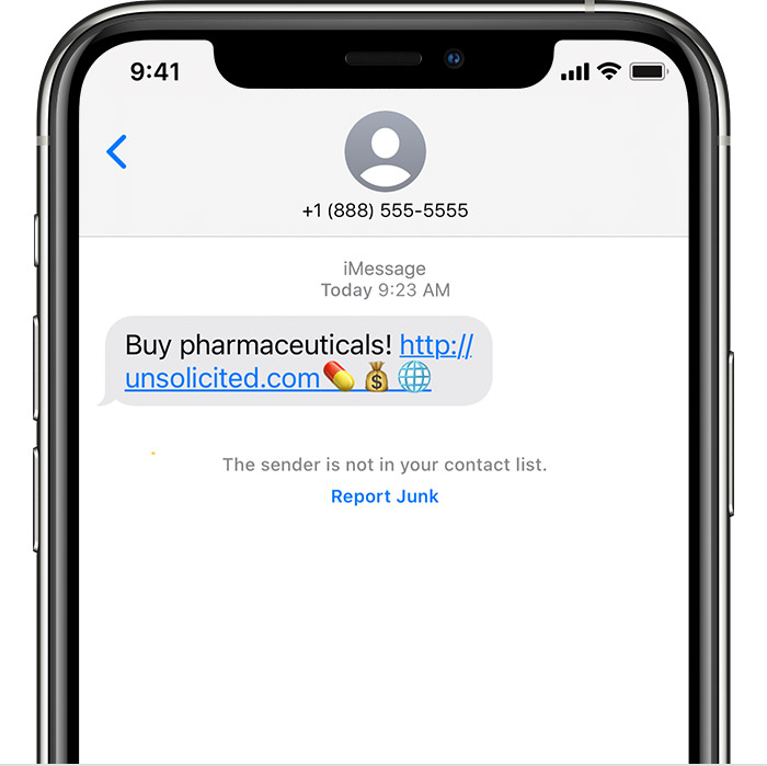 iPhone showing how to report junk in the Messages app