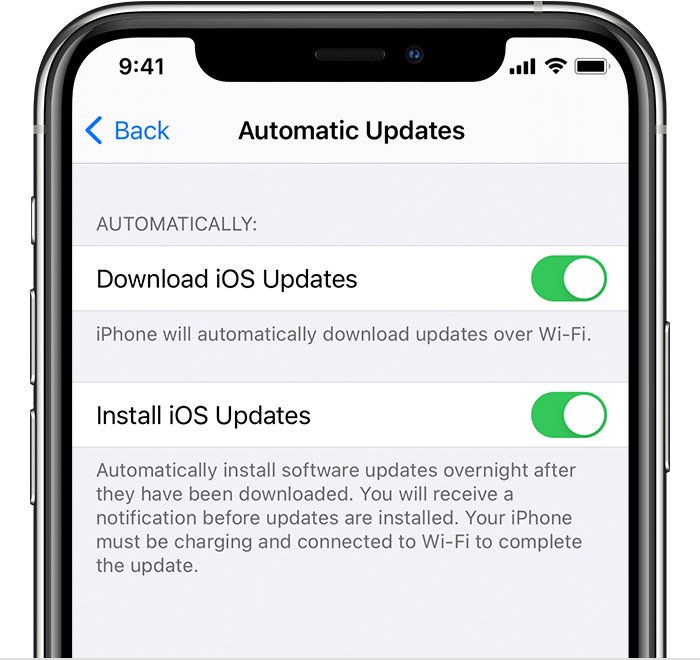 An iPhone on the Automatic Updates screen. Both options on the screen, Download iOS Updates and Install iOS Updates, are turned on.
