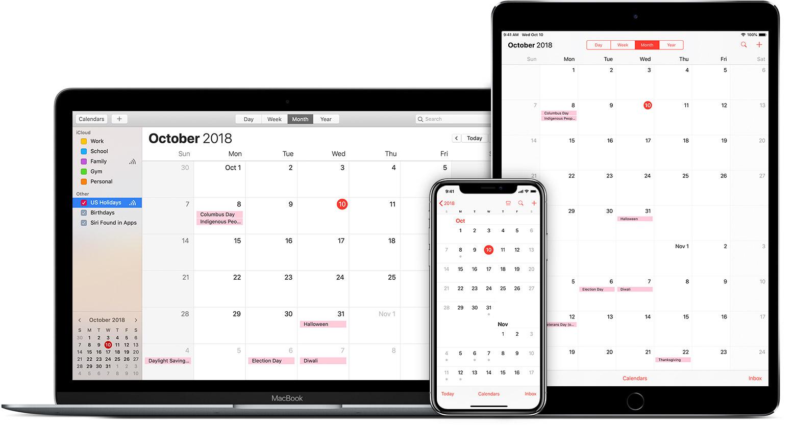 Mac, iPad, and iPhone showing iCloud calendar