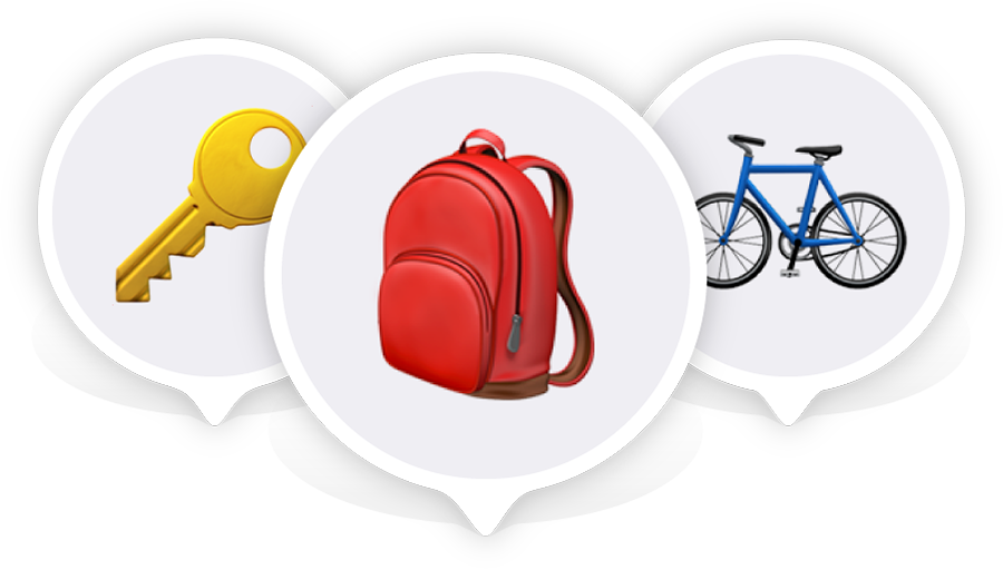 A key emoji, a backpack emoji, and a bicycle emoji, each inside a location pin.