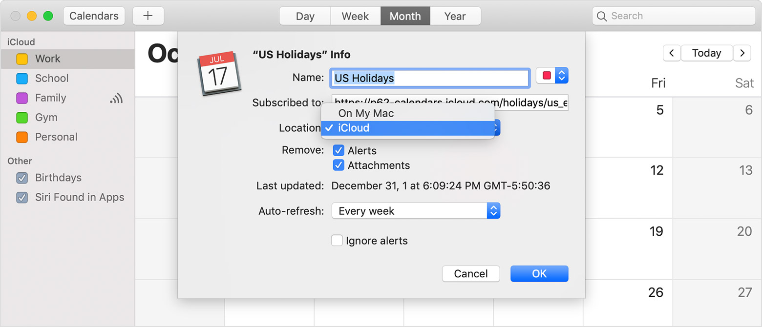 US Holidays Info setting within iCloud calendar