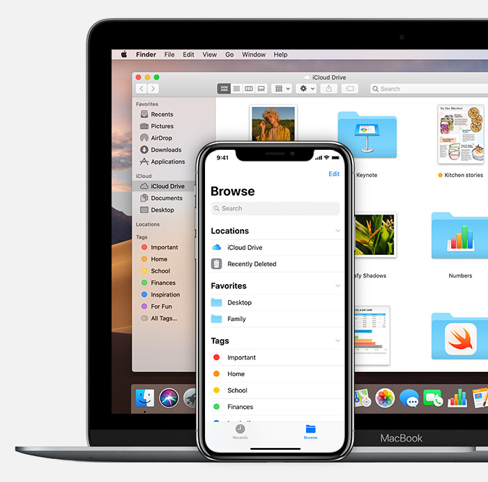 Mac and iPhone showing iCloud Drive